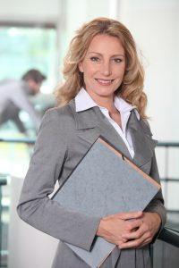 Woman holding portfolio