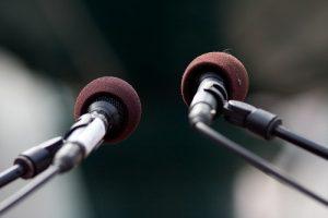 business communication - double microphones
