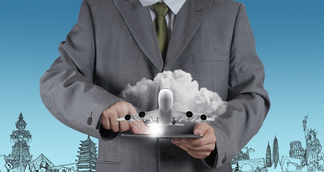 Traveling for Business - business man with device_airplane graphic