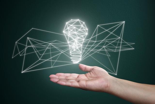 Bright idea in hand