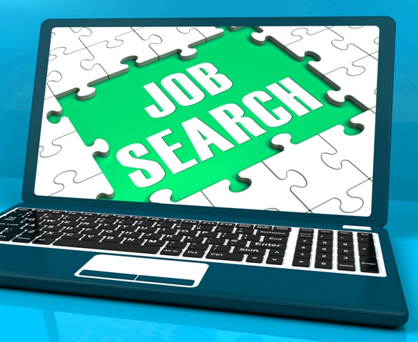 Job Search On Laptop Shows Online Recruitment And Internet Employment