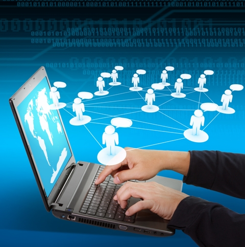 Business hands use laptop as Social networking concept