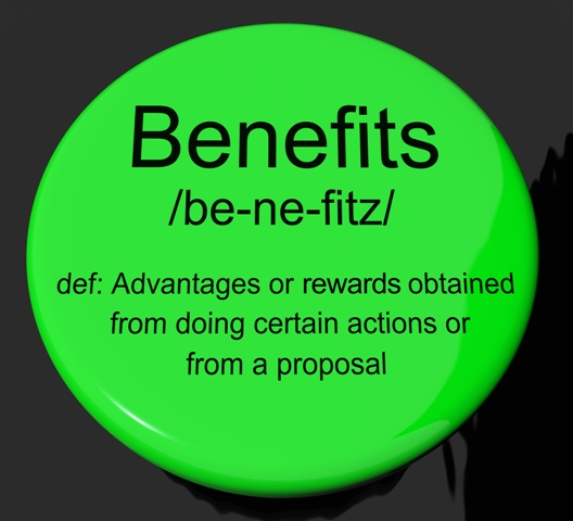 Benefits Definition Button Shows Bonus Perks Or Rewards
