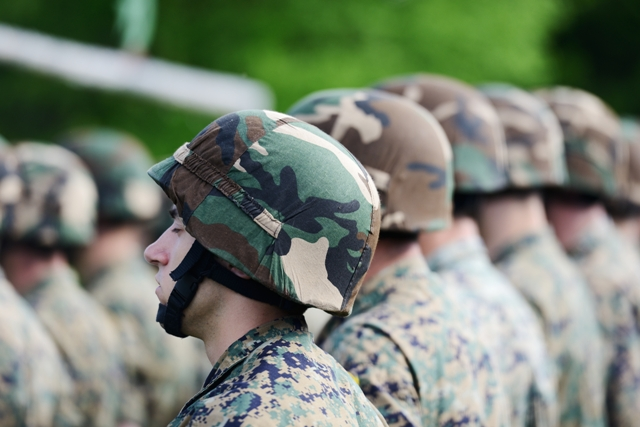 Soldiers with military camouflage uniform in army formation