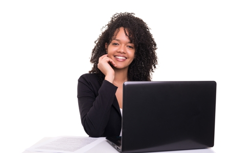 Female Business Leaders - Young Ethnic Woman smiling with laptop