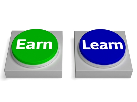 Earn Learn Buttons Showing Earning Or Learning