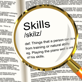Skills Definition Magnifier Shows Aptitude Ability And Competence