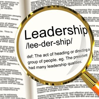 Leadership Definition Magnifier Shows Active Management And Achievement