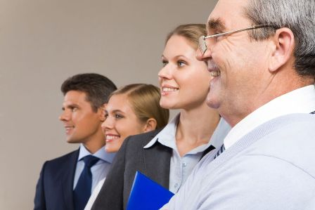 Leading Younger Employees - Group of professionals varying in age