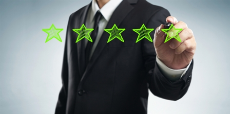 After-Performance-Review-business-man-drawing-5-stars