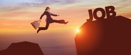 When You Don't Get the Job - Woman jumping toward job_cliff