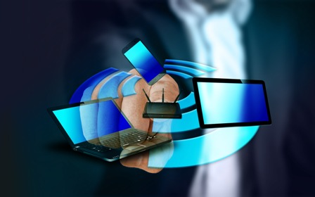 Tech Industry Tools - Businessman pointing to tech graphics