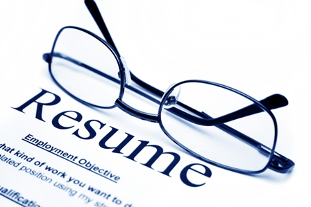 Resume Advice - Resume printed on paper with spectacles