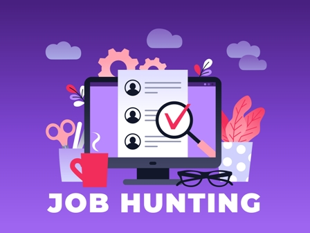 Job search concept - Job Hunting graphic - purple background
