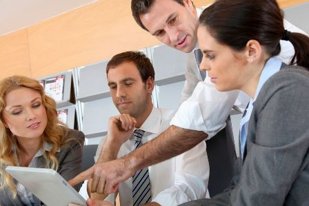Organizational Development concept - employees working together