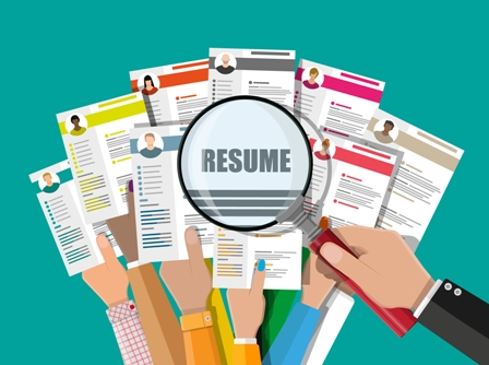 Resume reviewing - magnifying glass