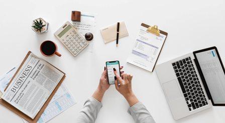 Gig economy - white desk with items