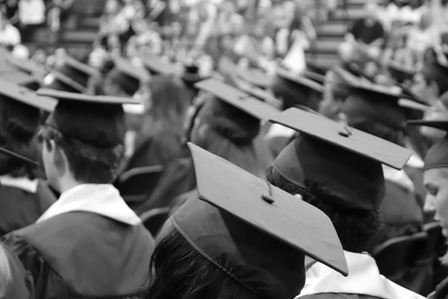 New Grads - Caps and Gowns B&W